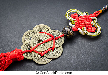 chinese coins of luck - chinese coins of luck on black...