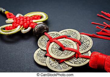 antigüedad, chino, pesos, en, negro, fondo.,