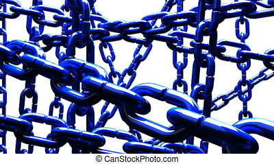 Blue Chains Abstract On White Background. Loop able 3DCG...