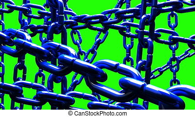 Blue Chains Abstract On Green Chroma Key. Abstract 3DCG...