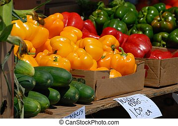 peppers for sale at local outdoor market florida