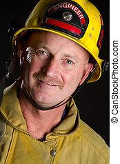 Smiling Fireman - Smiling fireman wearing helmet