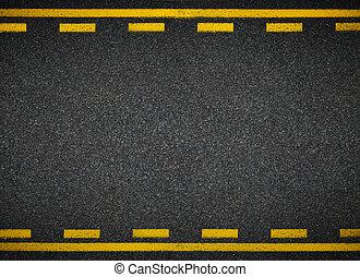 Road top view Asphalt highway yellow line marks - Asphalt...