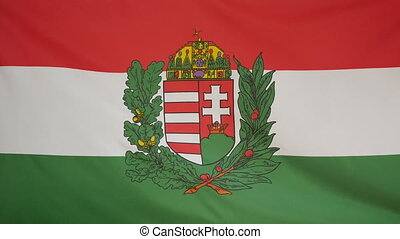 Hungary coat of arms Flag fabric - Textile flag of Hungary...
