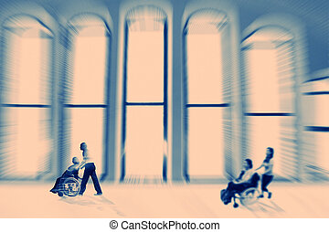 Abstract background A disabled person in a wheelchair indoor...