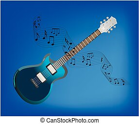 guitar and sheet music, - composition with a blue guitar and...