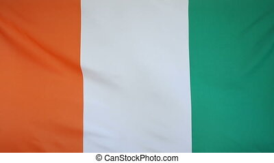 Ivory Coast Flag real fabric - Textile flag of Ivory Coast...