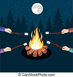 Bonfire with marshmallow
