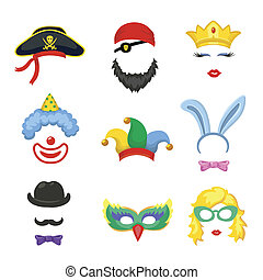 Photo booth Birthday and Party Set - glasses, hats, crown, -...