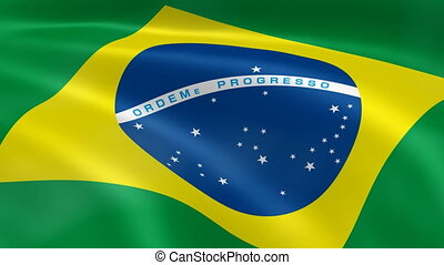 Brazilian flag in the wind. - Brazilian flag blowing in the...