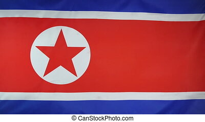 North Korea Flag real fabric close - Textile flag of North...