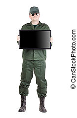 Security officer shows monitor. Isolated on a white...