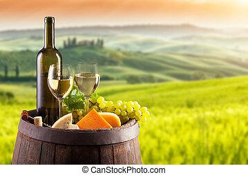 winnica, biały, Włochy, baryłka, Wino