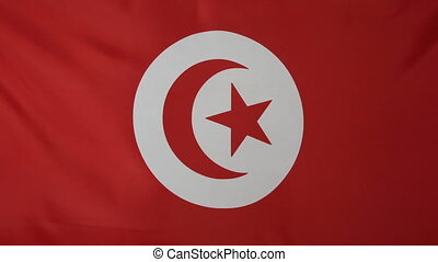 Tunisia Flag real fabric close up - Textile flag of Tunisia...