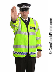 Police traffic stop - Policeman in reflective jacket...