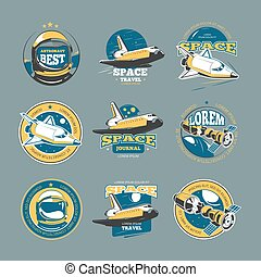Vintage space and astronaut vector colored badges, emblems, logos, labels