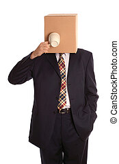 Box man coffee break - An anonymous businessman trying to...