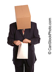 Box man opening envelope - An anonymous businessman opening...