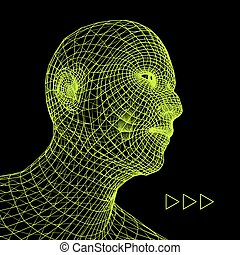 Head of the Person from a 3d Grid Geometric Face Design...