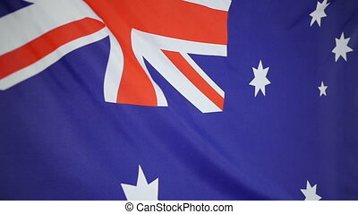 Slowmotion textile Flag Australia - Slowmotion of a real...