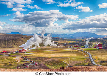 Krafla Geothermal Power Plant HDR - View over the Krafla...