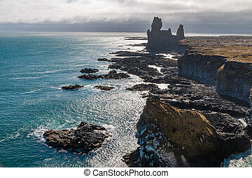Londrangar Rocks - Strange lava formations, called...