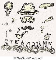 Steampunk collection, hand drawn vector illustration