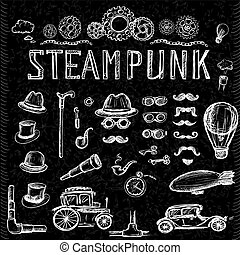 Set Steampunk collection on black, hand drawn vector...