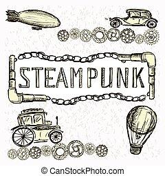 Steampunk Gears, machine, airship, balloon, hand drawing,...