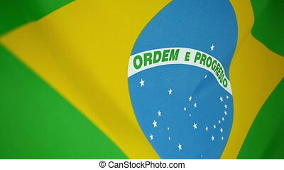 Slowmotion textile Flag of Brazil - Slowmotion of a real...