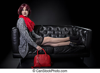 Spring or Fall Fashion and Red Bag - Woman modeling spring...