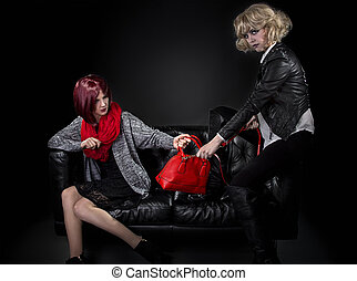 Sisters Fighting Over a Bag - Two jealous fashionable women...