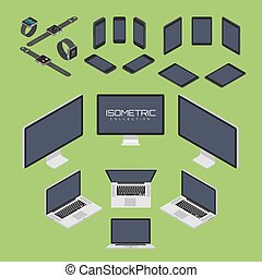 Set of Mobile phone, smart watch, tablet, laptop, computer from four sides icon set vector graphic illustration