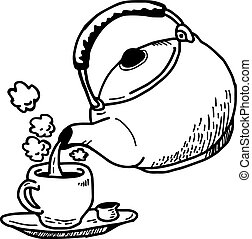 illustration vector hand drawn doodle of act of pouring a hot tea into a cup.