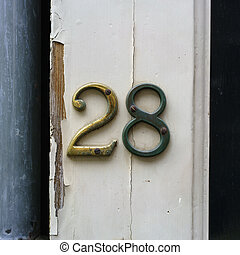 Number 28 - bronze house number twenty eight