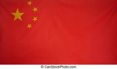 Slowmotion textile Flag of China - Slowmotion of a real...