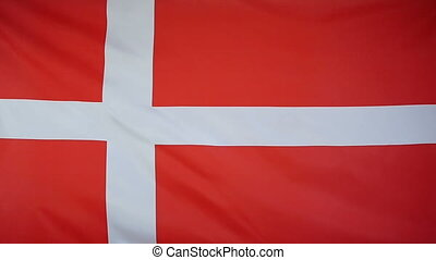Slowmotion textile Flag Denmark - Slowmotion of a real...