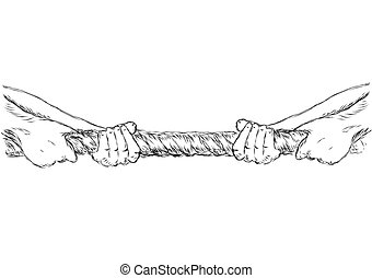 tug of war. human hands and rope isolated on white...