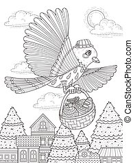 lovely bird brings food - adult coloring page