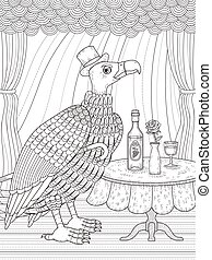 condor gentleman coloring page - condor gentleman with wine...