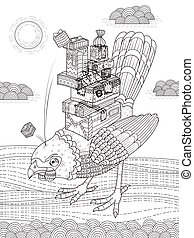 angry bird adult coloring page - angry bird brings presents...