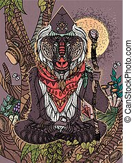 wisdom elder baboon crossed-legged in tree - adult coloring...