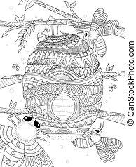 bee flies around honeycomb - adult coloring page