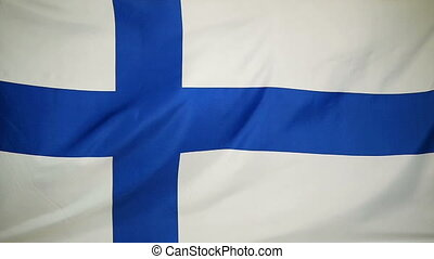 Slowmotion textile Flag of Finland - Slowmotion of a real...
