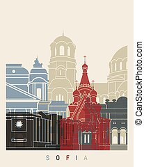 Sofia skyline poster in editable vector file