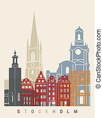 Stockholm skyline poster in editable vector file