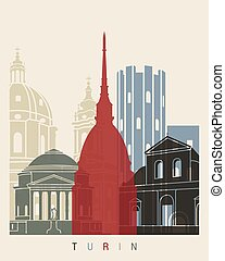 Turin skyline poster in editable vector file