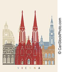 Vienna skyline poster in editable vector file