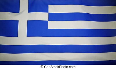 Slowmotion textile Flag of Greece - Slowmotion of a real...