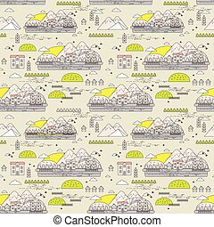 Seamless pattern of old town with mountains and houses on...